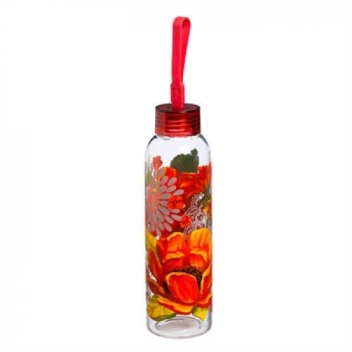 Water Bottle Glass With Loop Decal 18oz Graphic-peony