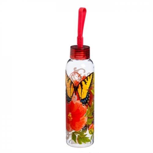 Water Bottle Glass With Loop Decal 18oz Graphic-butterflies And Flowers