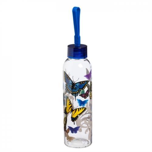 Water Bottle Glass With Loop Decal 18oz Graphic-flight Of The Butterflies