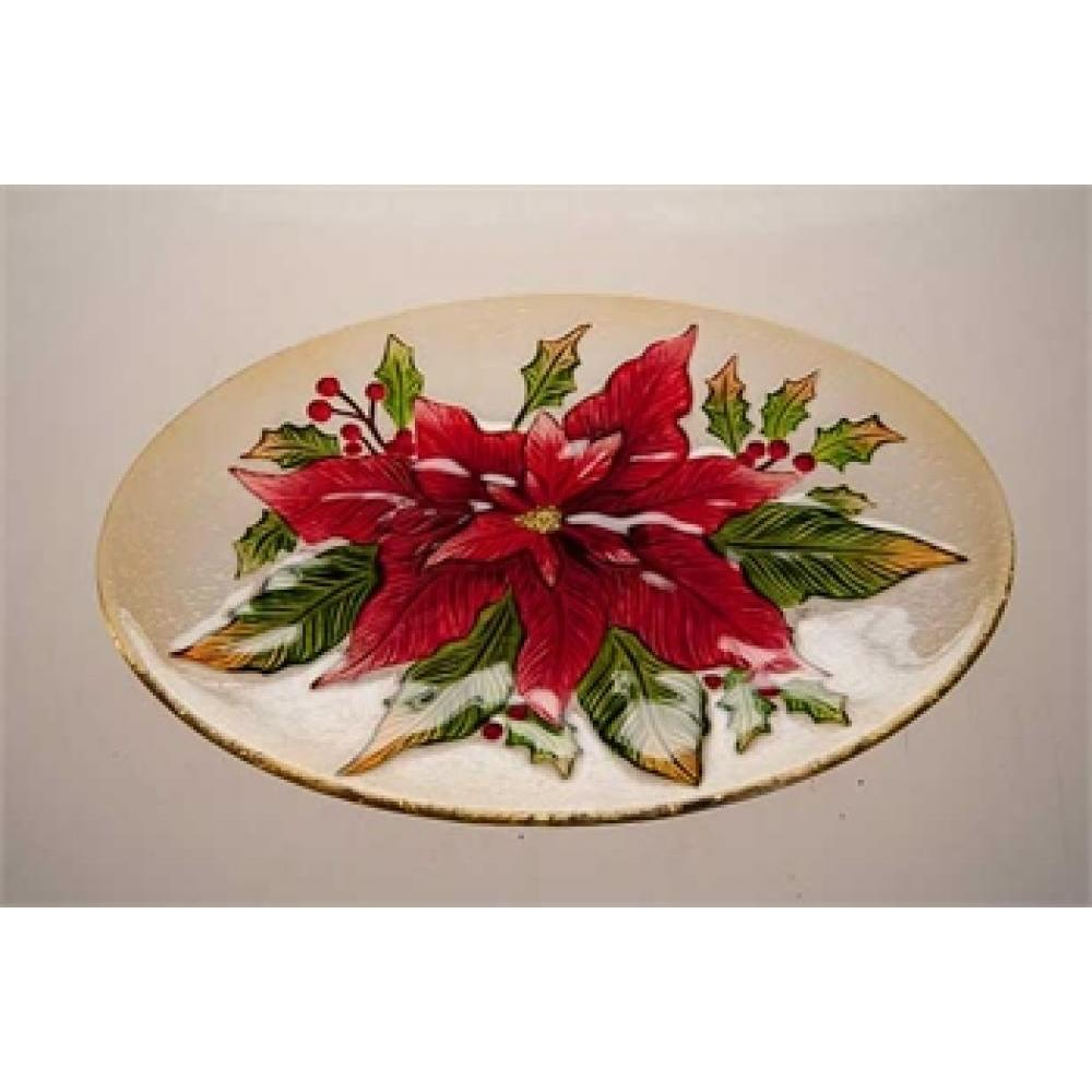 Christmas Tabletop Platter Glass Oval Pointsettia