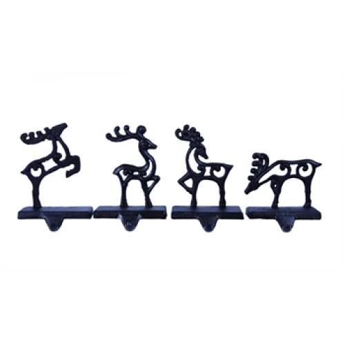 Christmas Decor Stocking Holder Metal Deer 4 Asst