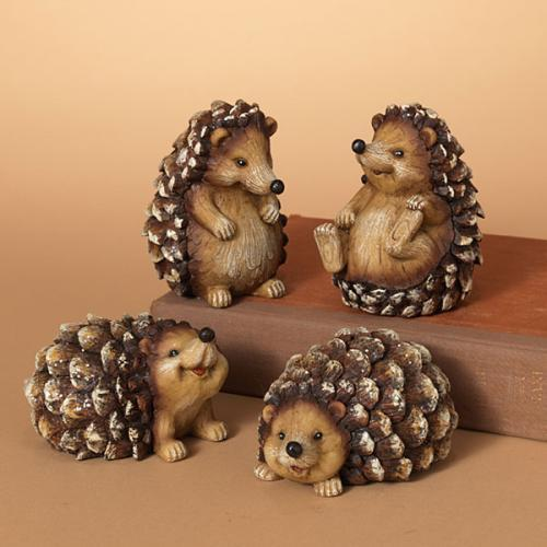 Christmas - Hedgehog Glitter Pinecone Figure 4in 4 Assorted