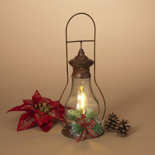 Christmas - Lantern Metal Glass Greenery Battery Operated With Timer 15� High