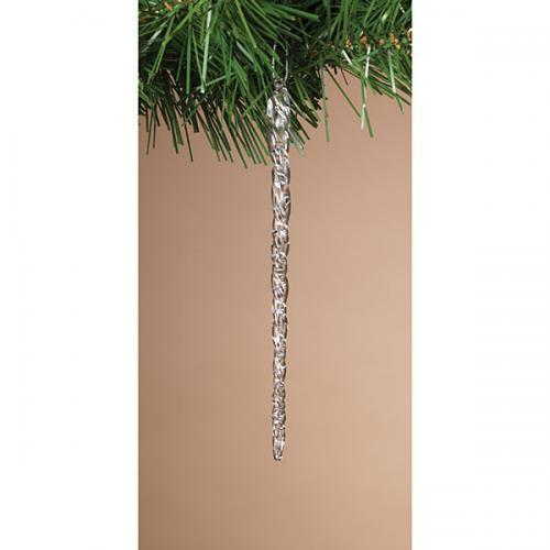 Christmas - Ornament Boxed Icicles Clear Spun Glass 20 Pack 4.9in Long  Acetate Box With Ribbon