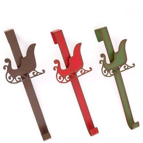 Christmas - Wreath Or Stocking Hanger Sleigh Motif Iron 3 Assorted Colors14in High