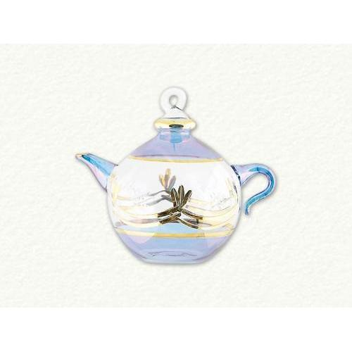 Ornament Teapot Round Ball Gold Etch