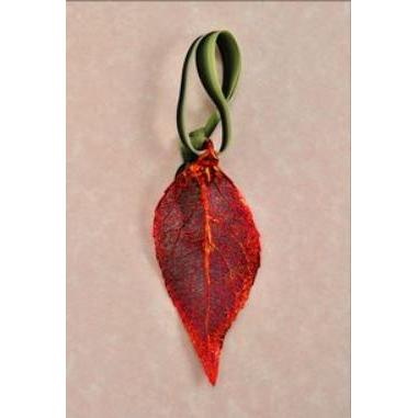 Ornament Evergreen Leaf Iridescent (red)