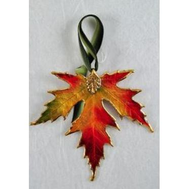 Ornament Silver Maple Gold Trim (fall Colors)