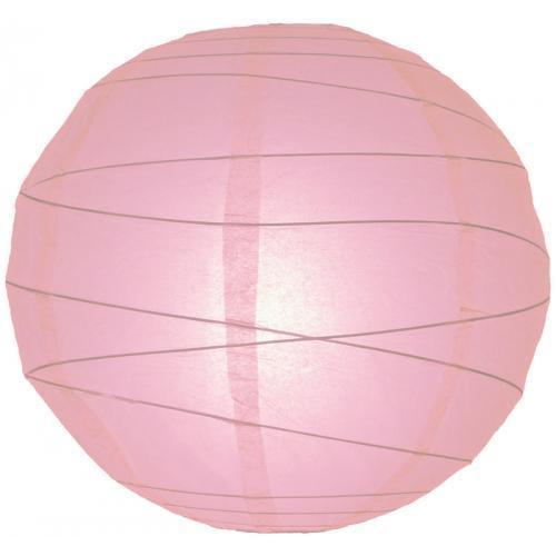 Paper Lantern 16in Irregular Ribbed Pink
