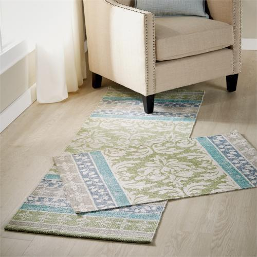 Pasha Printed Rug Green Runner 2ft X 6ft