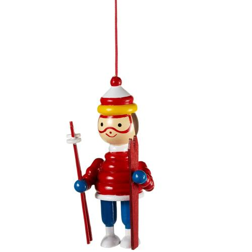 Ornament Skier Red