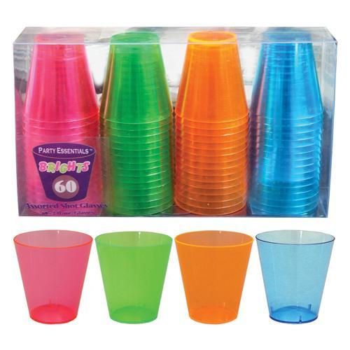 Drinkware Shot Acrylic 2oz Neon Brights 60 Piece Box (northwest Enterprises)