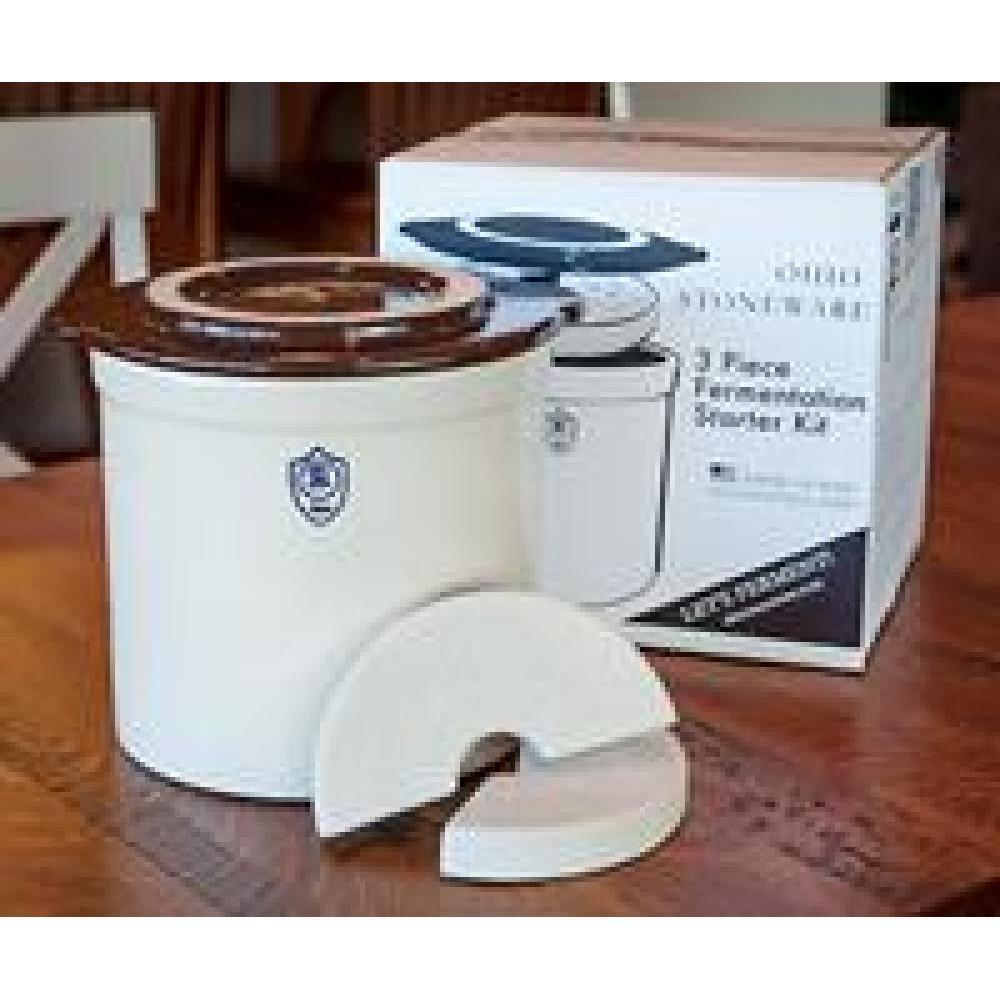 Fermenting Crock Stoneware Bristol Box Set 3 Piece Traditional Fermentation Starter Kit 2gal