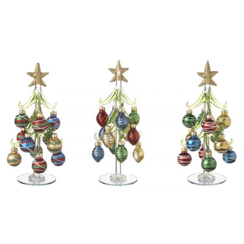 Christmas Decor Glass Tree With Ornaments Medium