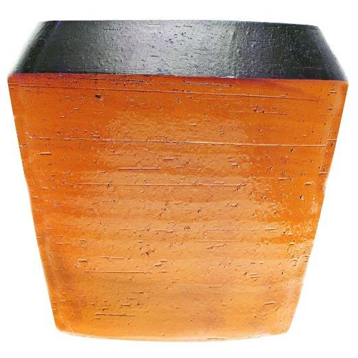 Flower Planter Pot Sateen Orange 7in