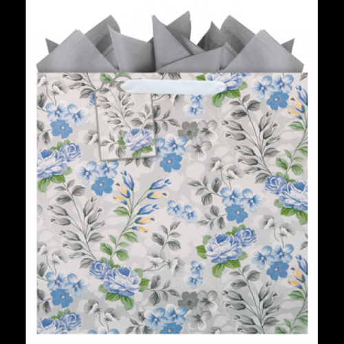 Gift Bag Large Square Blue Bells