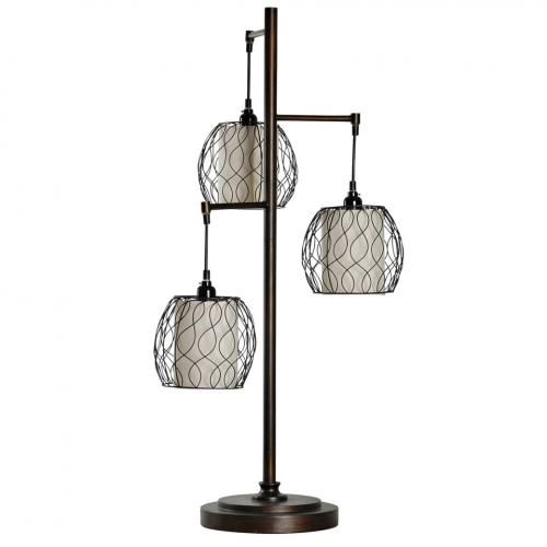Mid-modern Table Lamp With Caged Woven Shades 37in