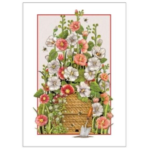 Birthday - Hollyhocks - Inside: May Beauty And Happiness Surround You! Happy Birthday!