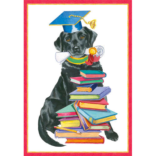 Graduation - Black Lab With Books - Inside: You Did It! The Future Is Stacked In Your Favor. Happy Graduation!