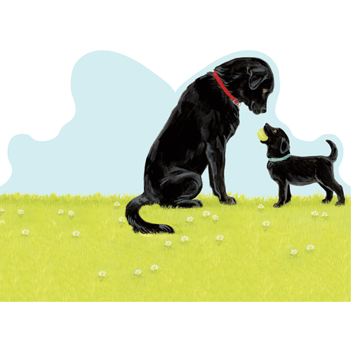 Father\'s Day - Die-cut - Black Lab Father And Son - Inside: I\'ve Always Looked Up To You! Happy Father\'s Day