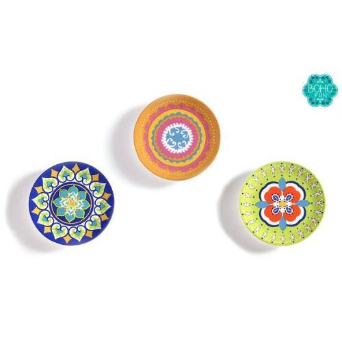 Trinket Dish Boho Fun Design Ceramic 4 Assorted (discontinued)