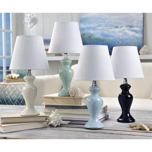 Table Lamp Bedside Ceramic With Shade White Black Seafoam Blue (discontinued)