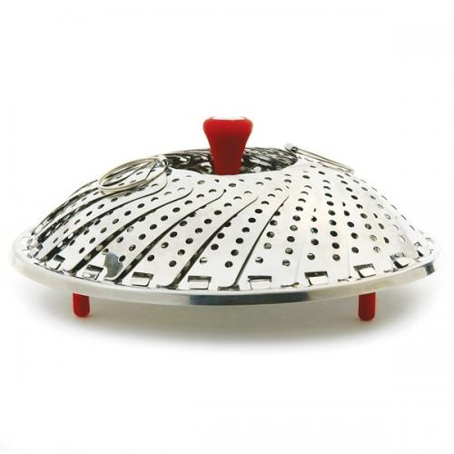 Vegetable Steamer Folding Detachable Handle & Silicone Feet Red-handle