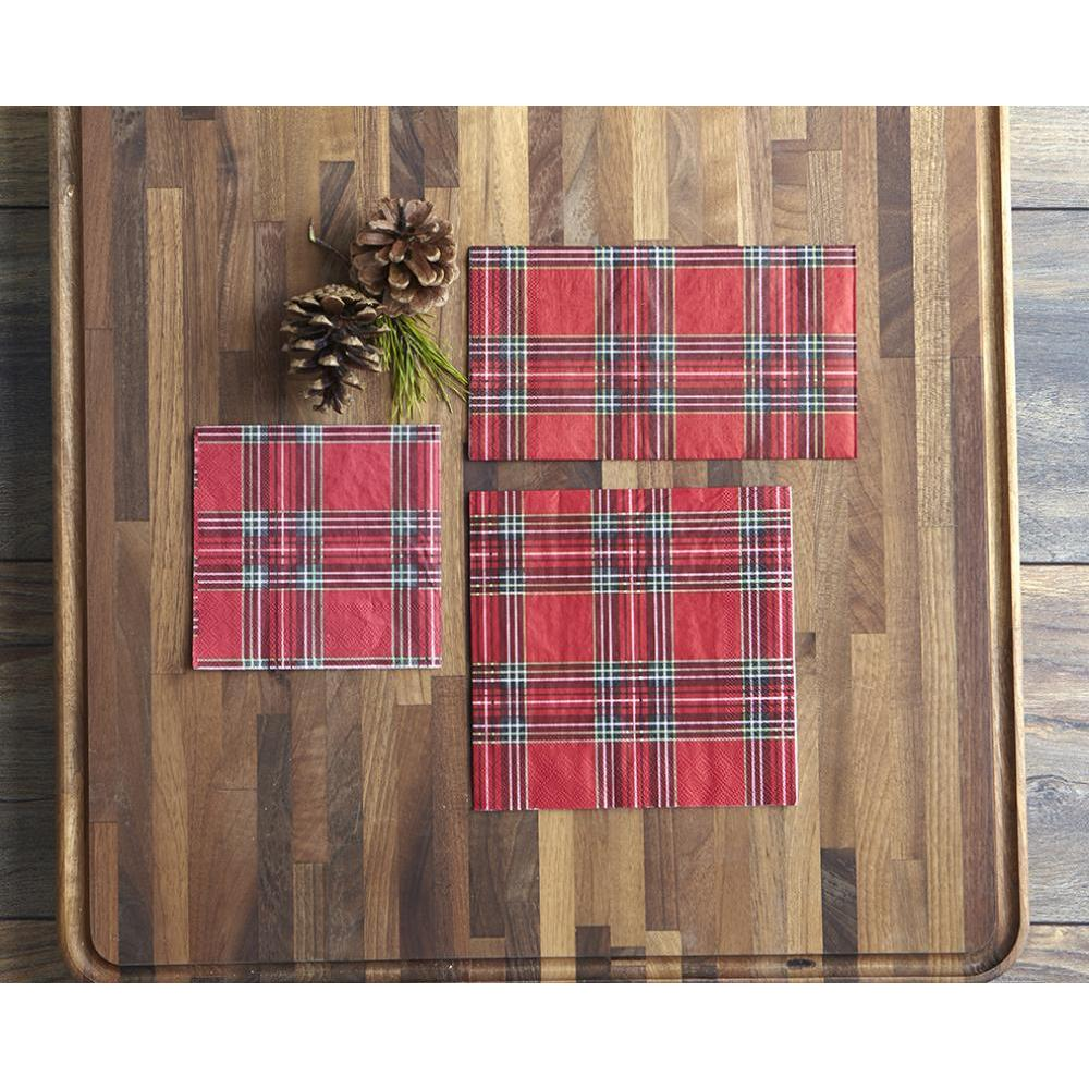 Paper Napkin Holiday Plaid Coctail