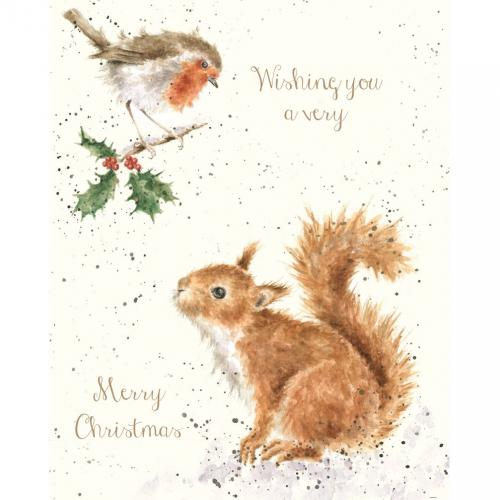 Christmas Card - Robin And Squirrel