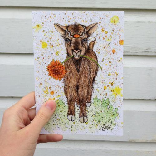 Vermont Artist - Goat With Flower