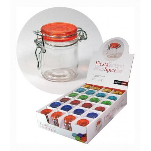 Spice Jar Glass Wire-clasp \'fiesta\' Assorted Seal-colors Tapered Cylinder 1.7oz Case Of 24 (1.99ea)