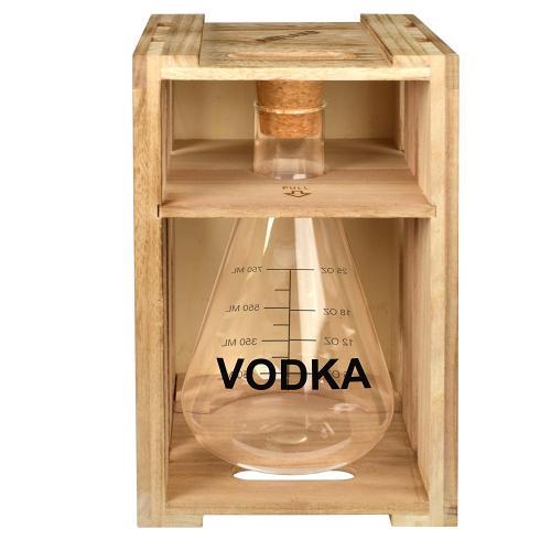 Cocktail Bar Decanter Glass Beaker Vodka In Wood Crate 36oz