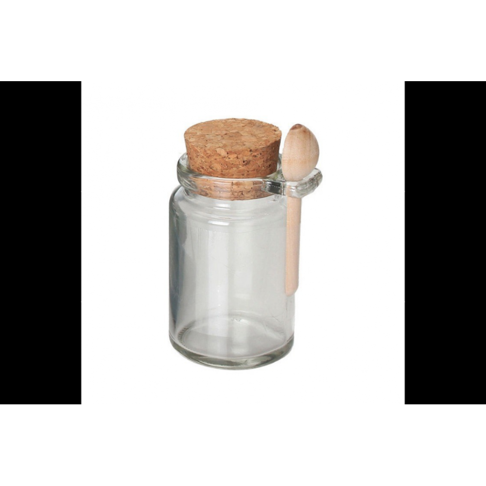 Honey Jar W/ Cork & Spoon