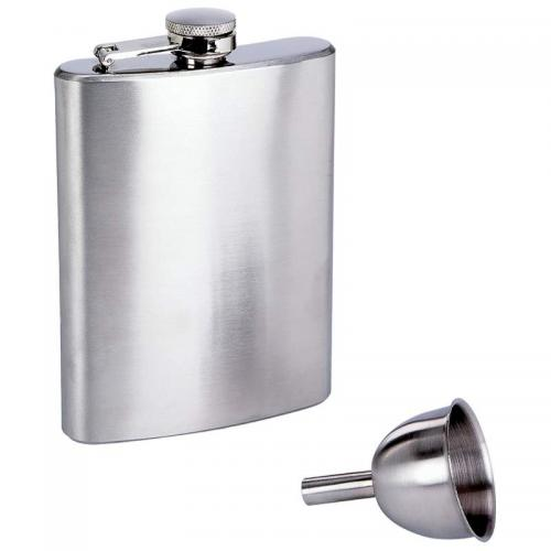 Travel Hip Flask Stainless Steel 8oz With Funnel
