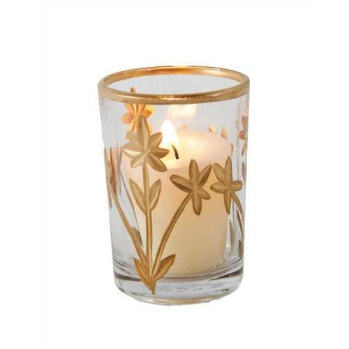 Votive Holder Cut Glass With Flowers & Gold Detail