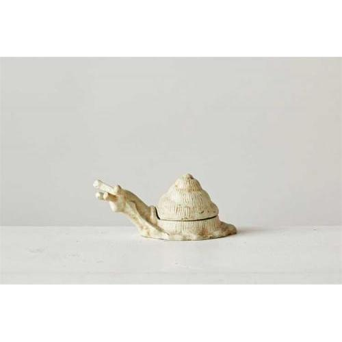 Outdoor Decorative Key Hider Box Cast Iron Snail White