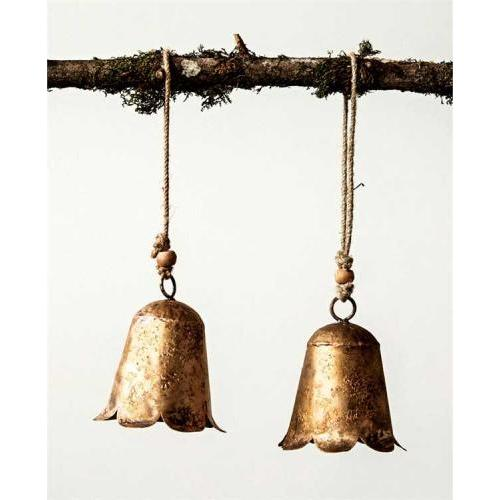 Hanging Chimes Flower Bell Gold Finish 6in
