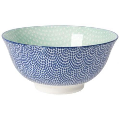 Dinneware Stamped Pattern Bowl 6in Blue Waves & Aqua