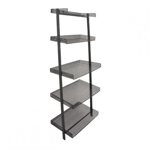 Shelf Leaning Black Metal 23in W X 62in H