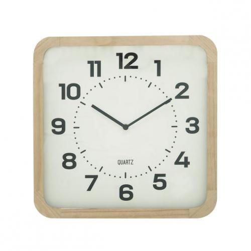 Table Clock Wooden Square White 15in X 15in