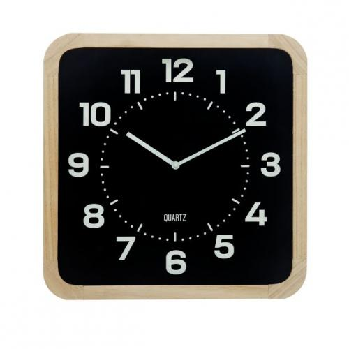 Table Clock Wooden Square Black 15in X 15in