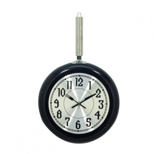 Wall Clock Black Frying Pan 11in Wide By 19in High