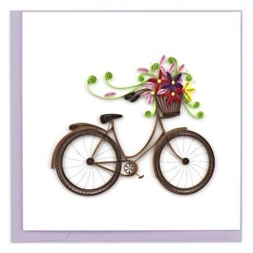 Any Occasion - Quilling Card - Bicycle W Flower Basket