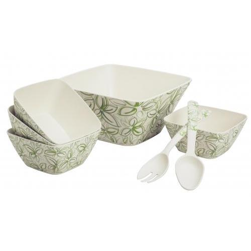 Outdoor Dinnerware Set Bamboo-composite Spring Bud Square Bowl 7 Piece Set