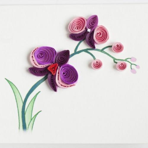 Gift Enclosure - Quilling Card - Purple Orchid