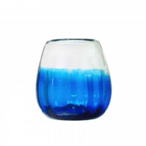 Drinkware  Glass  Rosa Stemless Wine Contoured Blue-cobalt 16oz
