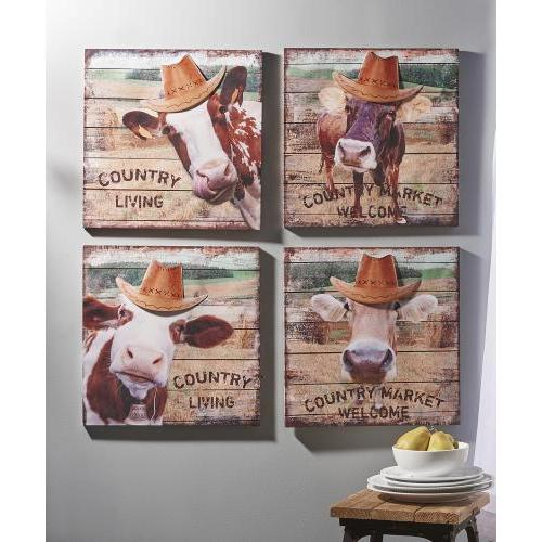 Canvas Print Cows With Hats 4 Designs