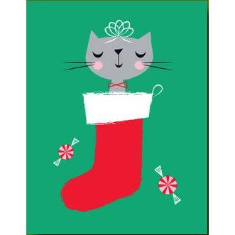 Christmas Card - Kitty In Stocking