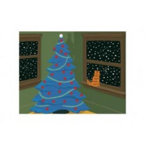Christmas Boxed Card - Yulesville Christmas Tree Cat