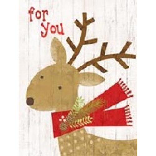Enclosure Cards - Christmas - Deer Red Scarf